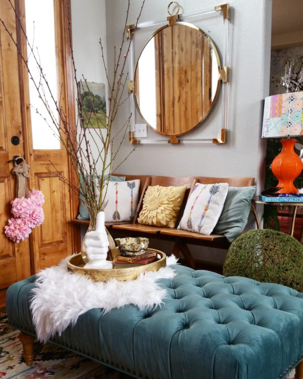 home decor interior design room tips wallpaper texture shopping entryway ottoman bench