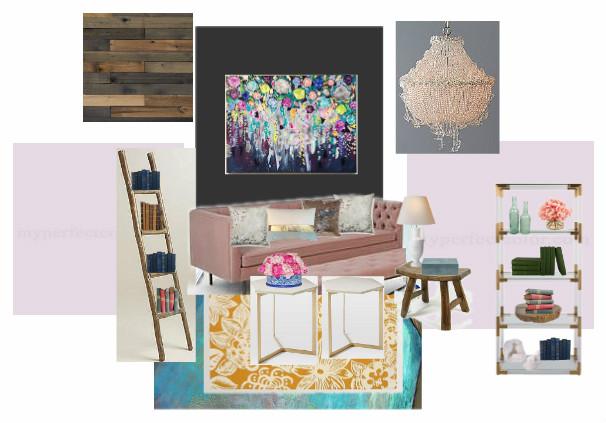moodboard mom room living room pink sofa wood ceiling chandelier metallic floor decor home decor diy