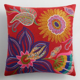 world market floral embroidered throw pillow outdoor home decor patio decorating tips