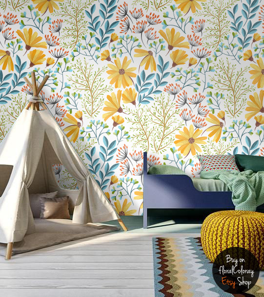 home decor, diy, inspiration, etsy, removable wallpapers interior design colorful decor
