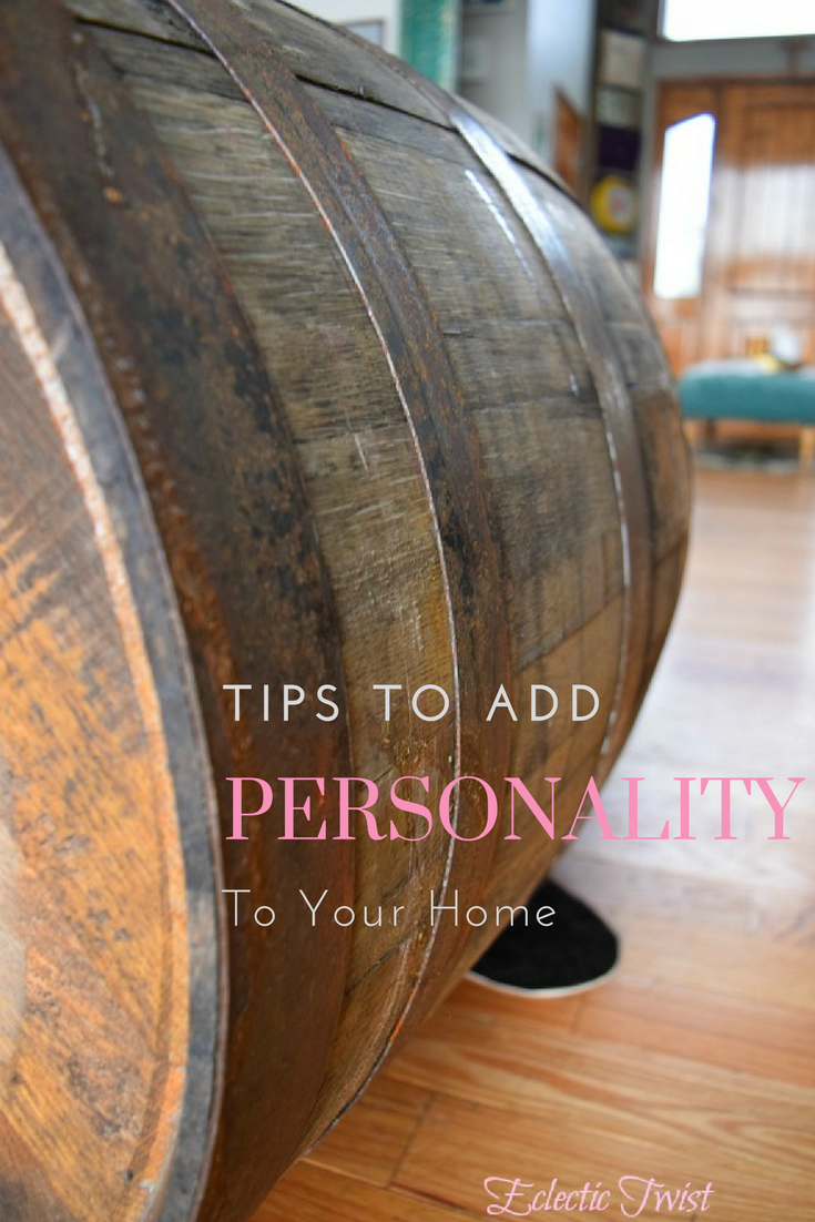 home decor, interior design, add personality to your home, barrel, entryway, textures, color
