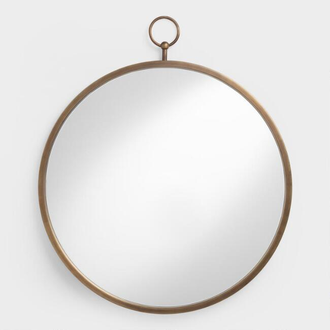 home decor, interior design, mirrors, mirror shopping guide, budget mirrors, budget friendly mirrors, glam, contemporary, rustic, metal, world market, brass loop mirror