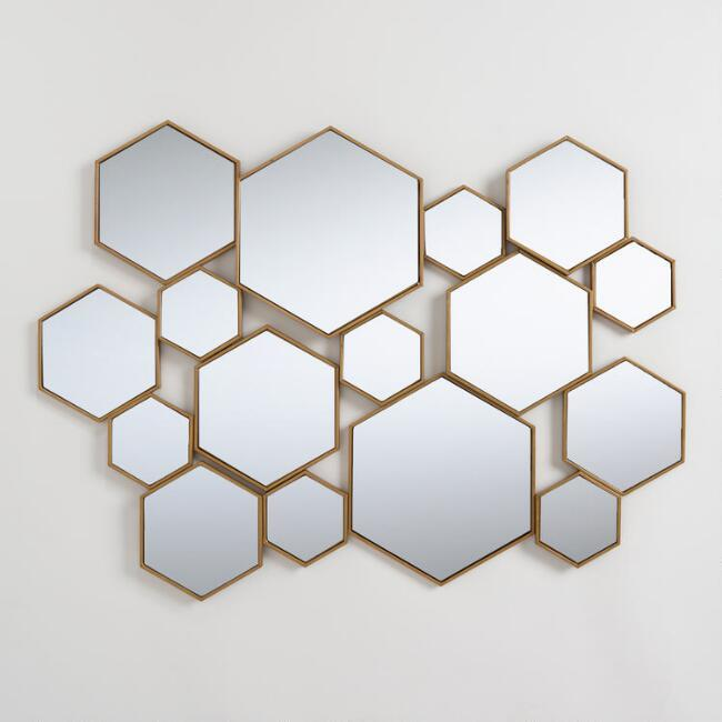 home decor, interior design, mirrors, mirror shopping guide, budget mirrors, budget friendly mirrors, glam, contemporary, rustic, metal, world market hexagon mirror