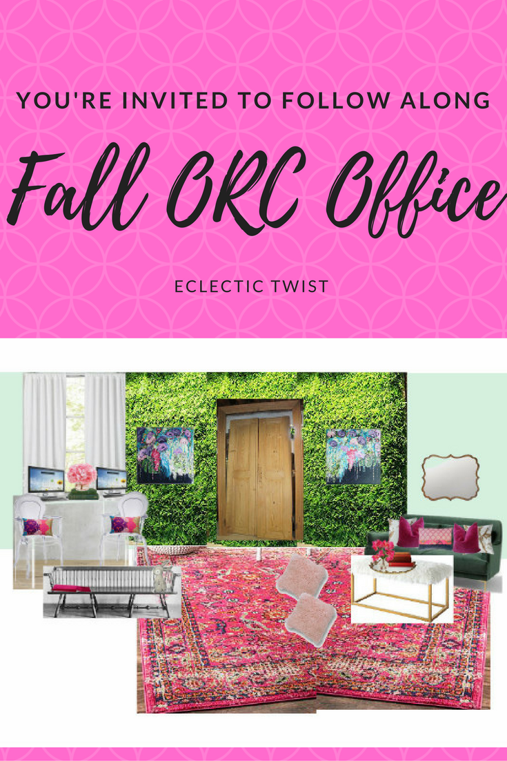 one room challenge, office, schoolroom, home decor, interior design, faux greenery, antique doors, pink rug, velvet sofa
