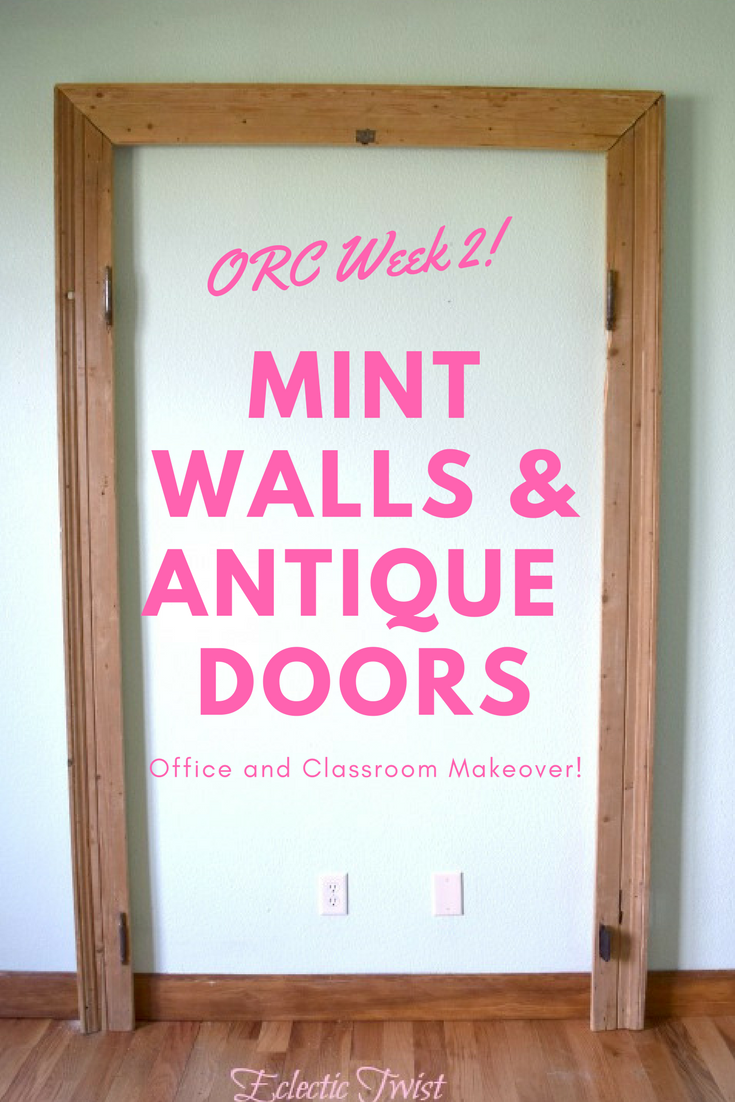 home decor, interior design, pondscape, behr, one room challenge, office, diy door frame, painting, school room, classroom