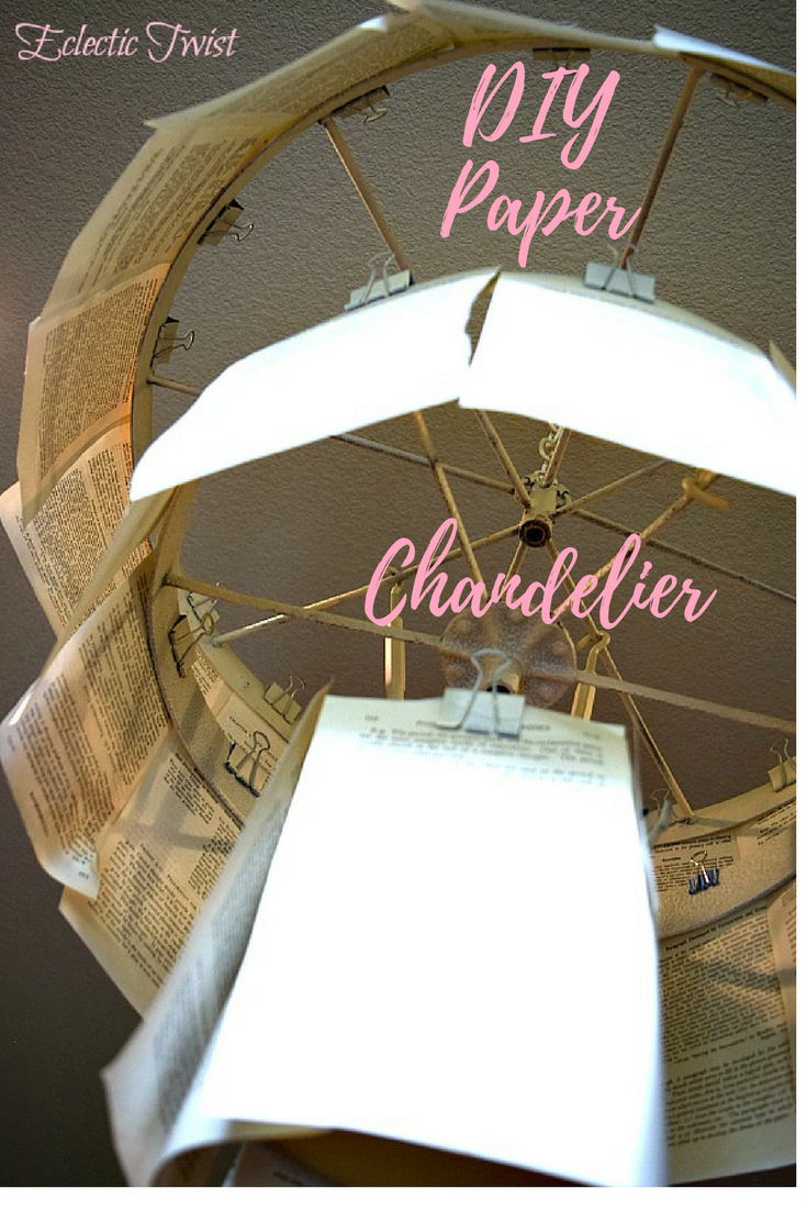 How to make a DIY Paper Chandelier, home decor, interior design, diy chandelier, one room challenge project, easy chandelier diy, cheap diy light