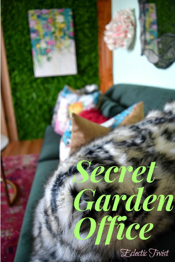 secret garden in wonderland office, one room challenge office/classroom, home decor, interior design, faux greenery wall, diy hanging desk, alice in wonderland decor