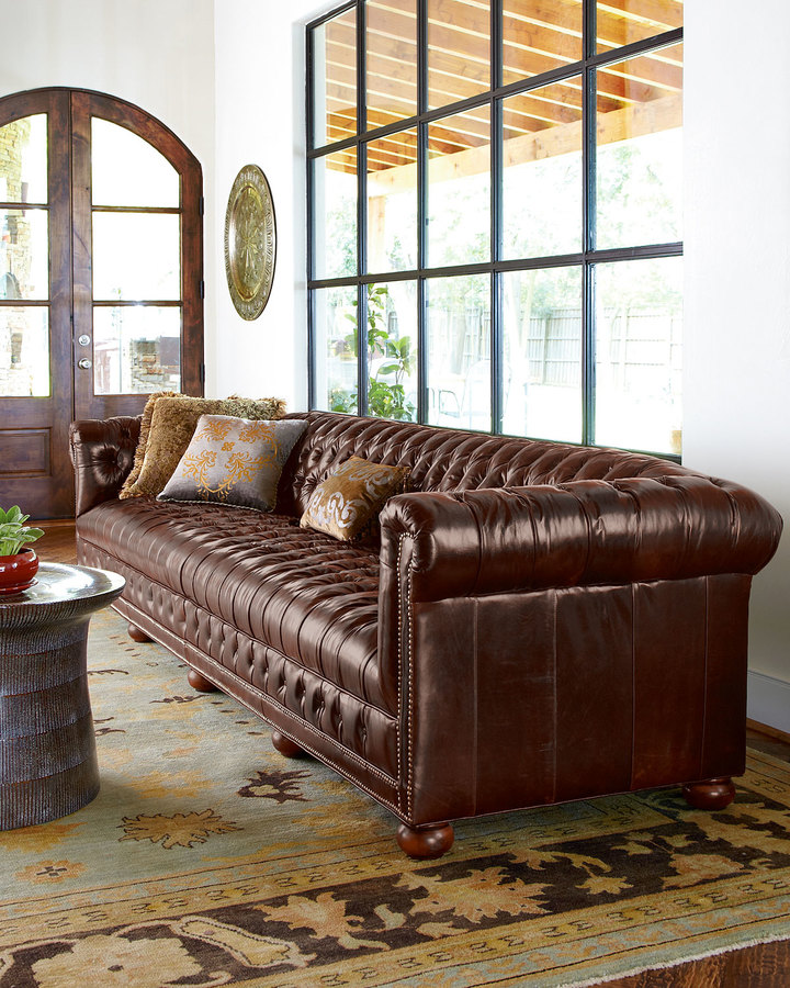 5 tips to buying furniture online, shopping for furniture online, saving money buying furniture online, home decor, interior design, old hickory tannery leather chesterfield sofa