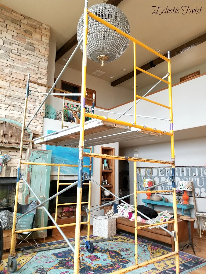 prep to list for sale, fixing wood trim scratches, restor a finish, miracle wood fixer, fixing scratches in wood, scaffolding, removing light fixtures, touching up wood trim, fixing wood scratch in furniture
