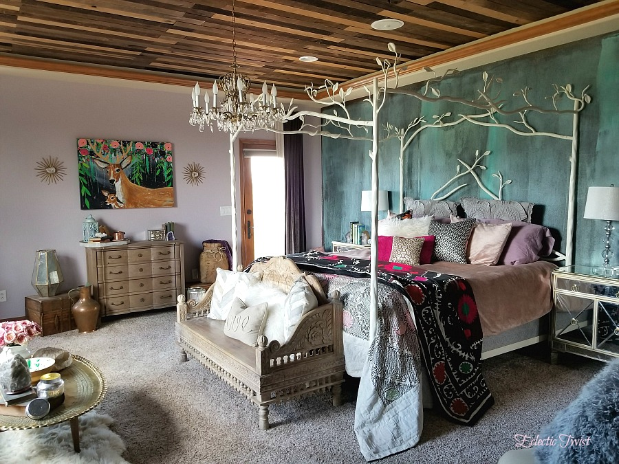 metallic effects wall, gem wall, master bedroom, modern masters metallic effects, home decor, interior design, bedroom, weaber lumber, reclaimed wood ceiling, canopy bed