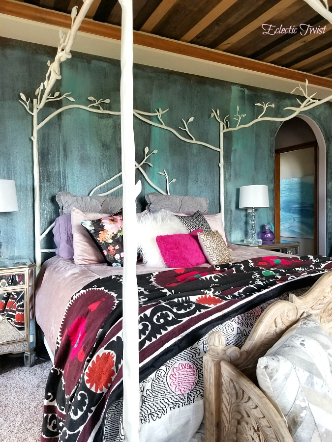 3 tips to mixing patterns in your decor, mixing patterns like a pro, home decor, interior design, using patterns in your home, bedroom, suzani, canopy bed