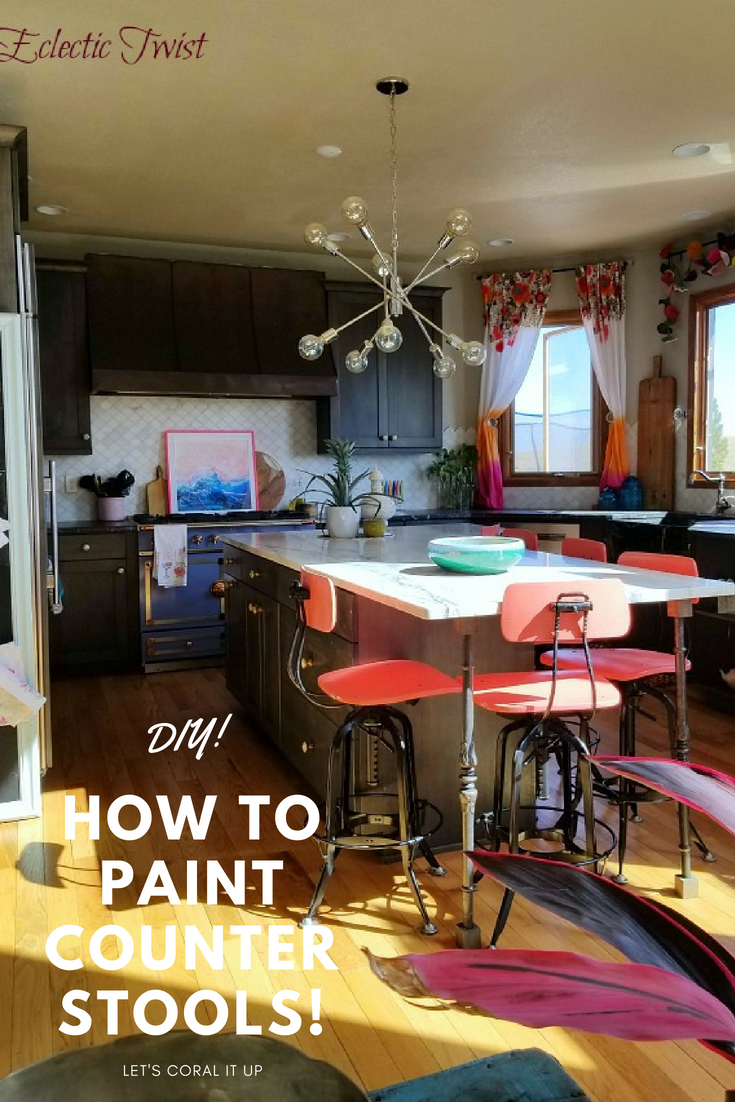 DIY, painting your counter stools, how to paint kitchen chairs, home decor, interior design, how to paint your kitchen chairs, adding a pop to your kitchen, cheap way to add color to your kitchen