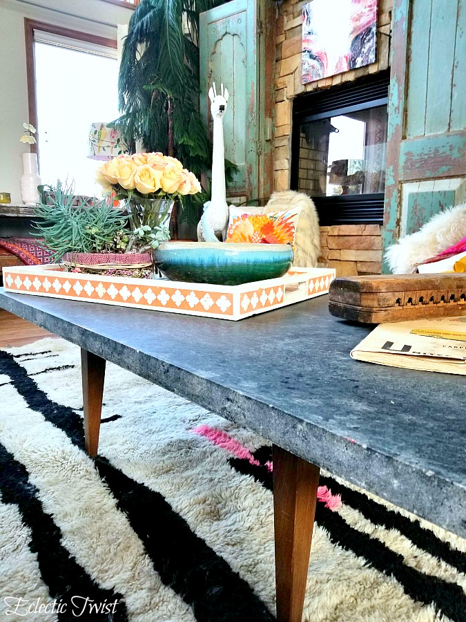 family room update, beni ourain rug, open floor plan, pink and black decor, home decor, interior design, change up your family room, vintage rug, homecrest vintage patio chairs, chesterfield