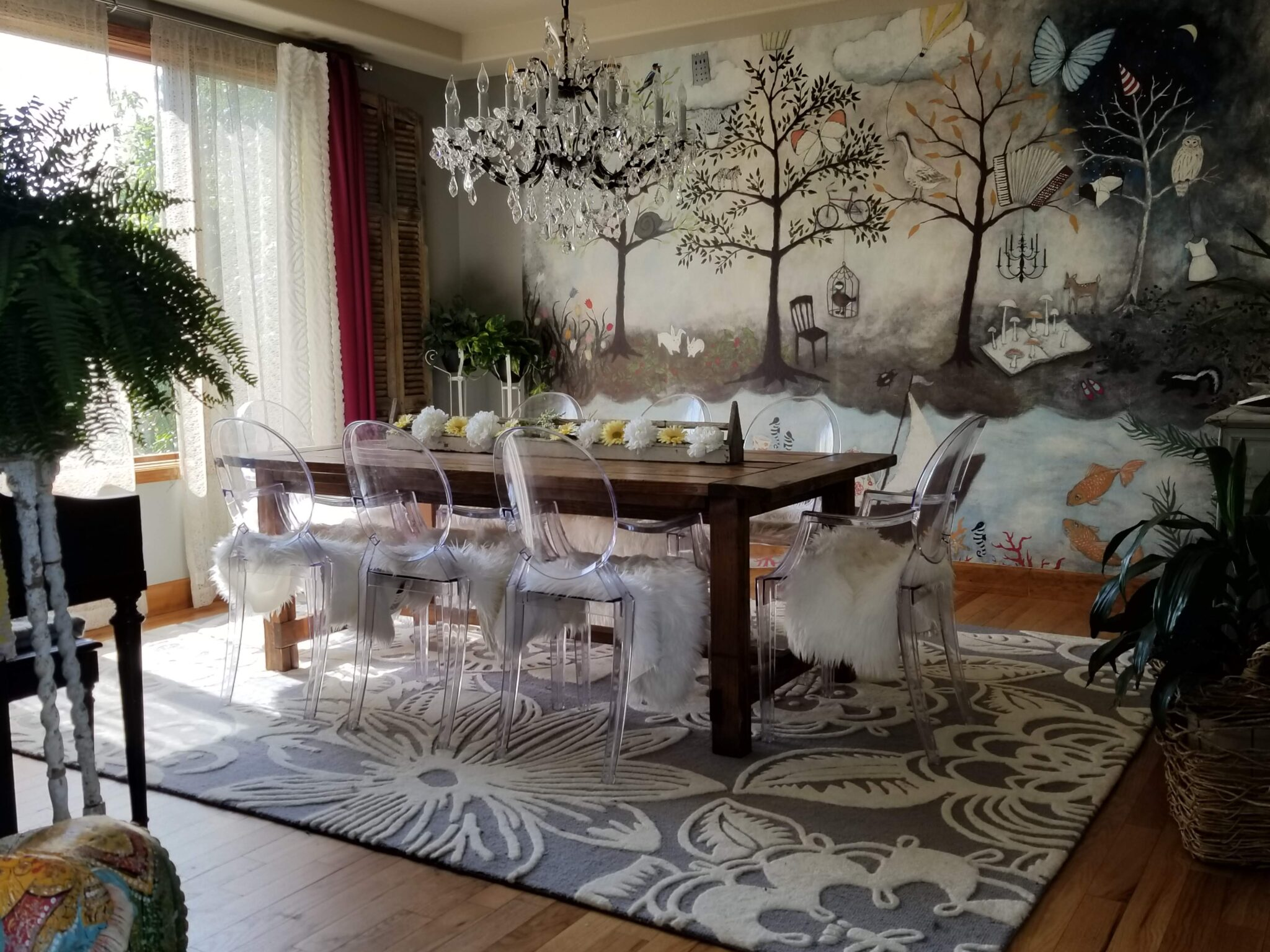 dining room, sophisticated whimsical home office, fall one room challenge, enchanted forest wall mural, anthropologie, ghost chairs, farmhouse table