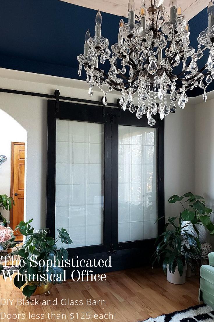 diy black and glass barn doors, diy barn doors, steel and glass diy doors, barn doors less than $125, home decor, interior design