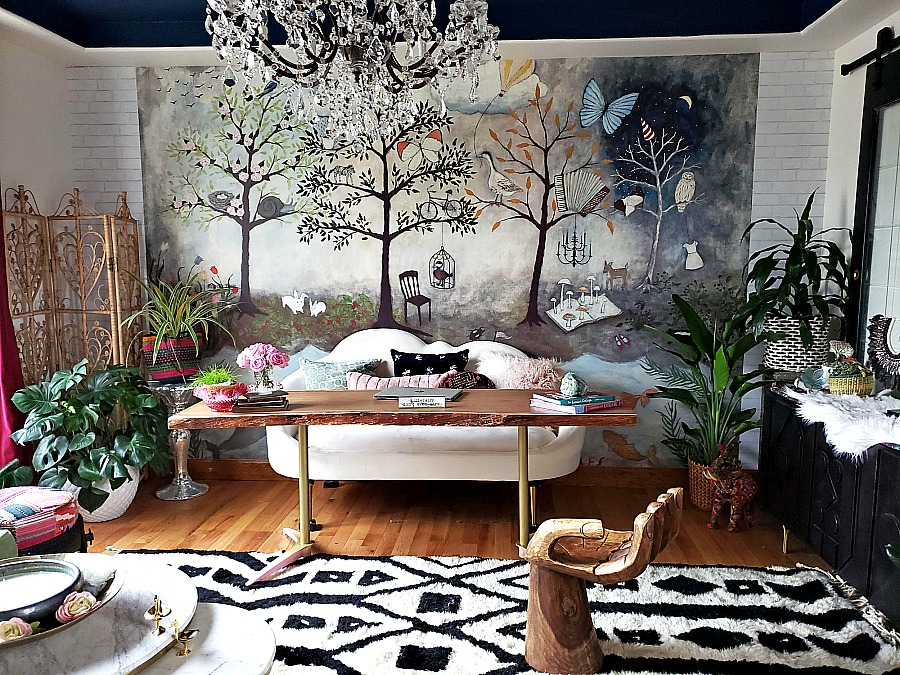 sophisticated whimsical home office, anthropologie enchanted forest mural, blue ceiling, stikwood ceiling, home decor, interior design, diy live edge desk, diy barn doors, cloud sofa, mint sofas, peel and stick brick wallpaper