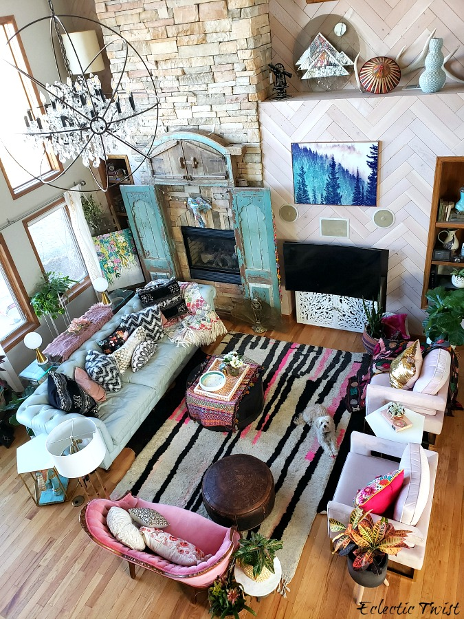 update your space for free, inexpensive changes to update your space, 7 tips to freshen it up for cheap, home decor, living room, beni mguild, family room, interior design, blue chesterfield, pink settee, pink chairs, black, white