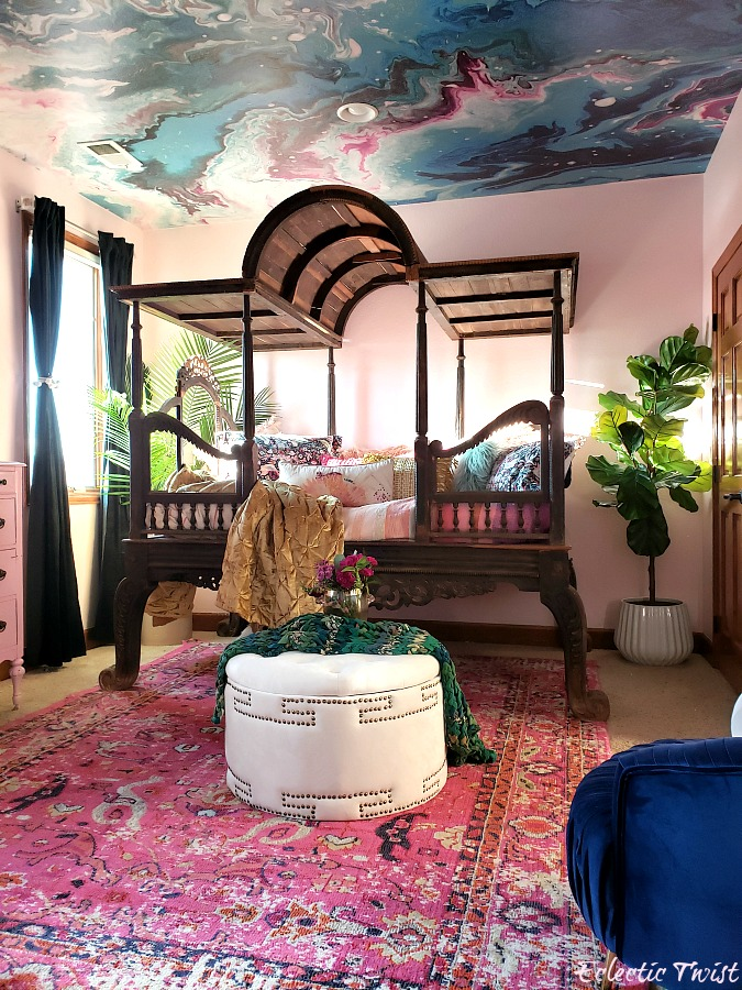 jewel box bedroom, jewel tones, green, blue, pink, white, navy, emerald, velvet, morrocan, indian, antique, aqua swirl mural ceiling, peel and stick ceiling, powder blush benjamin moore, home decor, interior design, bedroom, luxurious room