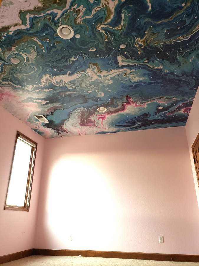 peel and stick wallpaper, wallpaper on the ceiling, how to install wallpaper on the ceiling, sweet pea wall designs, marble aqua swirl mural, how to apply peel and stick wallpaper to ceiling, good quality wallpaper, home decor, interior design