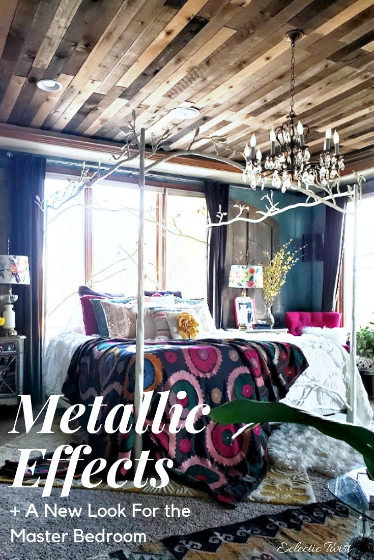modern masters metallic effects, master bedroom, canopy bed, anthropologie, wood ceiling, home, decor, interior design, bedroom ideas, yellow accents, suzani
