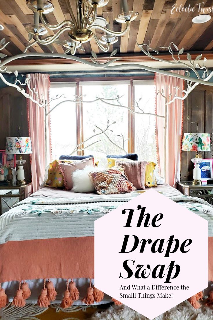 drape swap, curtains, drapes, opalhouse, target, blush pink, coral, fringe, bedroom, master bedroom, wood ceiling, hanging curtain rod height, home, decor, interior design