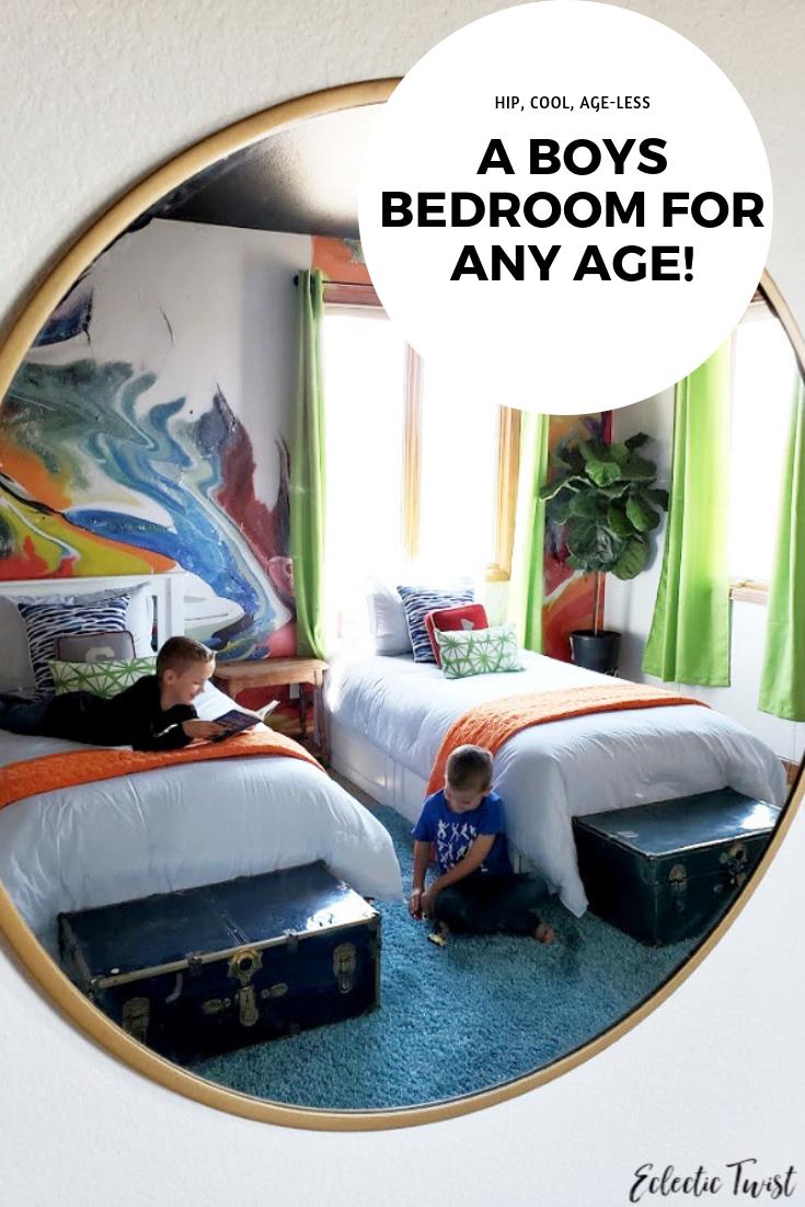 boys, bedroom, home, decor, interior, design, peel and stick wallpaper, mural, swirl, miami, sweet pea wall design, the futon shop, storage beds, twin, caviar, decorators white, orange, lime green, blue
