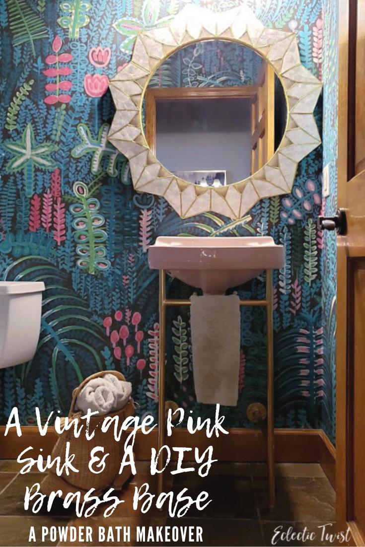 vintage, pink sink, diy sink base, copper sink base, brass sink base, powder bath, powder bath makeover
