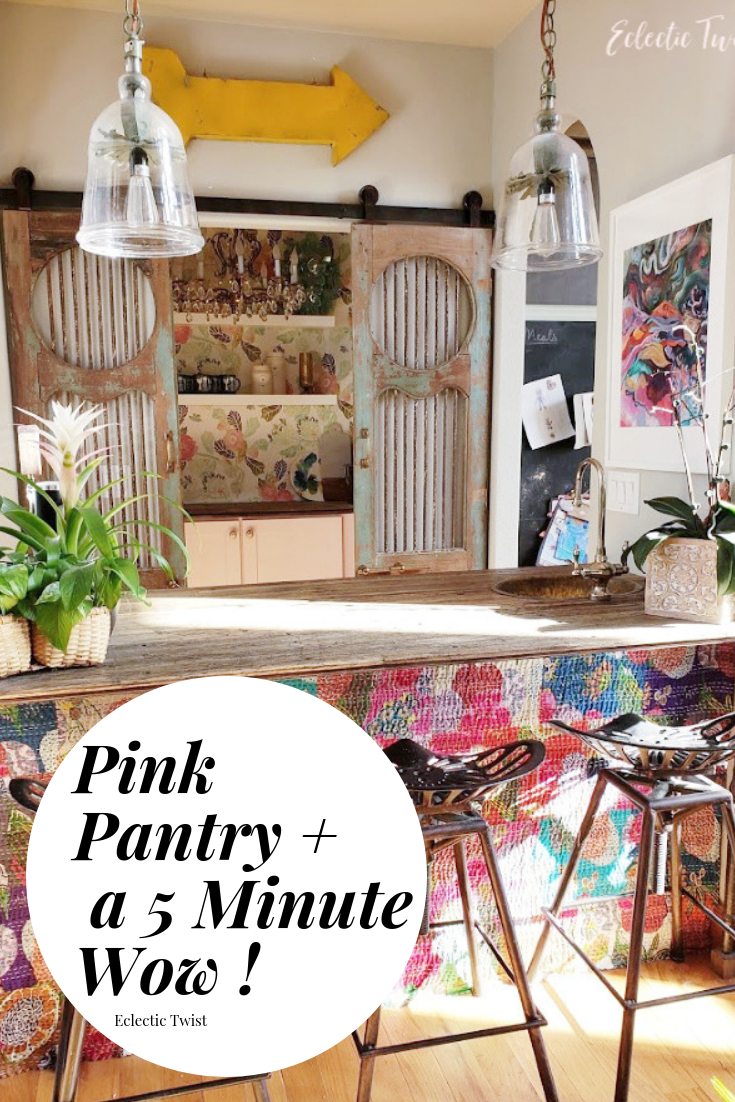 pink, pantry, cabinets, kitchen, annie sloan, chalk paint, kantha quilt, bar, makeover